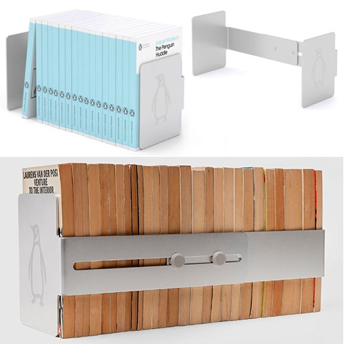 Jasper Morrison's The Penguin Huddle. A modular bookshelf/bookends that can expand as needed.