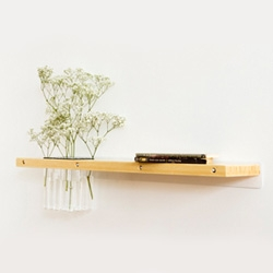 Also from Every Space Design, Arrange shelf ~ gorgeous mix of bamboo, steel, rubber, and glass test tubes.