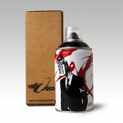 London artist SHEONE in collaboration with Montana Colours - Barcelona, present a limited edition of only 500 spraycans. Featuring the artists trademark graphics, and of course, the colour is black, Ridealone black.