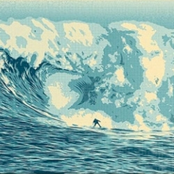 Shepard Fairey and Tom Servais created this incredible image for The Surfrider Foundation. It captures the Jaws wave off Maui.