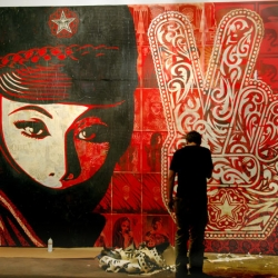 Shepard Fairey with his amazing show in London at the Stolen Space Gallery.