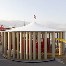 "Shigeru Ban's pavilion for Camper - popping up at all the Volvo Ocean Race Marinas! ""This circular, visually airy structure is open on all sides and characterized by its imposing colonnade of recycled paper tubes."""