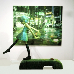 Shintaro Ohata is a Japanese artist who combines 2D paintings with 3D sculptures. Neat!