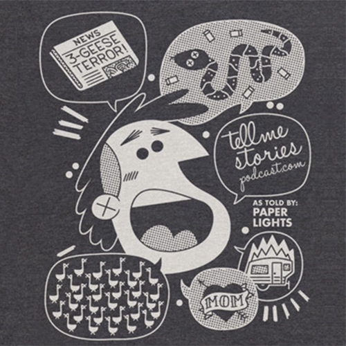 Musician Paper Lights' story of snakes and trailers immortalized in t-shirt form by illustrator Andrew Kolb for the Tell Me Stories podcast.