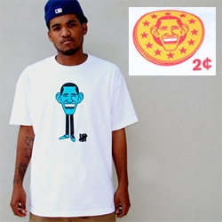"Undefeated x Geoff McFetridge ""2 Cents"" T-Shirt ~ just as i thought i was getting sick of seeing obama's face schwag everywhere, this one made me smile."