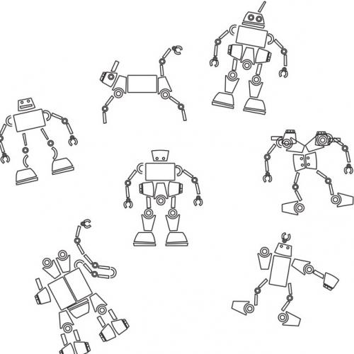 Robot Factory by Shlomi Eiger is a concept of a 2D construction set based on stamps. Stamps of basic shapes enable to create endless design of robots and robotic creatures.