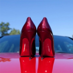 RED! Metal Rouge Elisa Louboutins unboxing in/on the Mars Red Mercedes-Benz 2011 C63 AMG... it's amazing how close the signature red Louboutin soles are to the paint job!