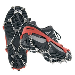 MICROSpikes - This grippy, durable, slip-on traction system features strategically placed stainless steel spikes connected to a dynamic flex-chain with a tough elastomer shoe harness.