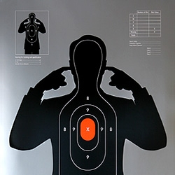 "Brand new poster print by Supermandolini™. ""Shooting Target"" more than just a fun design carries under the surface a more serious message open to interpretation."