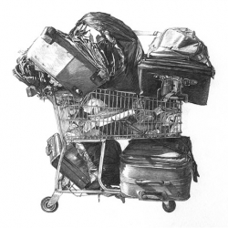 Amazing drawings of shopping carts by Taizo Yamamoto.