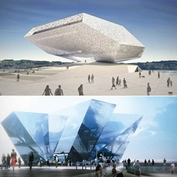 Images + plans of the six schemes shortlisted in the contest to design the V&A Museum in Dundee, Scotland.