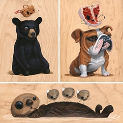 "Cuddly Rigor Mortis ""I'm Not Hungry"" Show at Gallery 1988! Adorable creature (+ food) filled art on wood!"