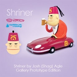 "Shag - Shriner initial ""Gallery Prototype Edition"" (ltd ed of 100 pcs) available at the opening of Shag's Red Star, Black Eye exhibition at the Rotofugi Gallery in Chicago."