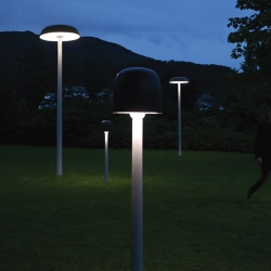 Shroom, an outdoor light fixture with a motion detection system. Dims to 10 % light strength, but when someone passes by, it smoothly brightens to full luminosity.