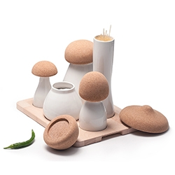 Albe designed by Dragosmotica for UBIKUBI. A mushroom inspired collection of homeware kitchen containers made of porcelain, cork, and beech wood.
