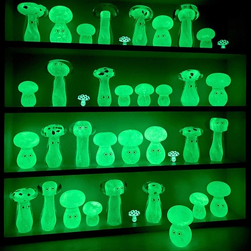 Studio Arhoj's NIGHT SHROOMS! This new collection of glow in the dark glass blobs (with eyes of course!) looks stunning, and the halloween special means a free glow in the dark enamel mushroom pin with each blob.