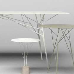 The Shrub Table, designed by Zhili Liu for Belgian company Quinze & Milan, was inspired by shrubs where each leg branches to create various support points for the table, allowing you to maintain a surface 6mm thick.