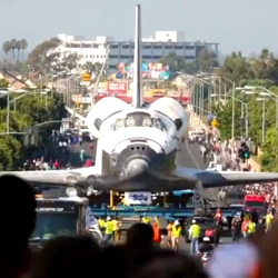 A time-lapse of the Space Shuttle Endeavour's trek across L.A was created by Bryan Chan for the the Los Angeles Times. The video shows the shuttle on its 12-mile journey from LAX Airport to the California Science Center.