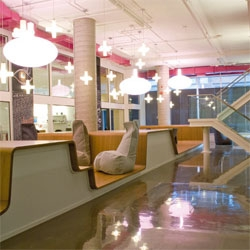 Free form open plan office for the ad agency Sid Lee in Montreal.