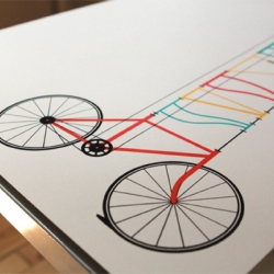 A nice hand-printed, minimalist bike poster. There's also a blog post link that shows how it was made.