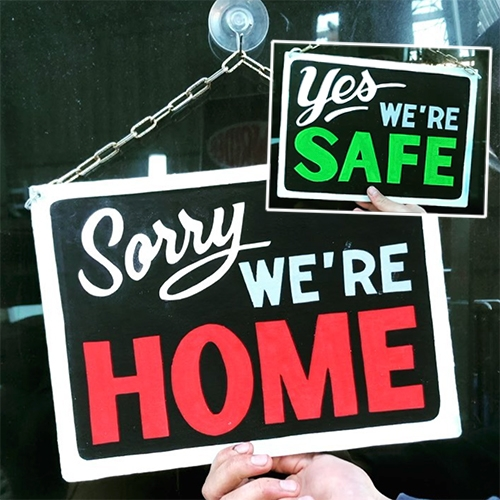 "SergeLowrider ""Sorry, we're home - Yes, we're safe"" signs! (DM @sergelowrider for purchase info!)"