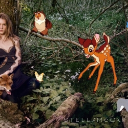 it's pretty rare that an advertisement makes me want to skip around and do a little dance. But this new Stella McCartney ad featuring Disney all-stars Bambi & Co makes me very happy.