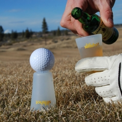 The SiliShot is the world's first silicone shot glass, bottle topper, and golf tee all fused into one.