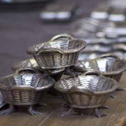 These silver baskets with bird feet were created by Bobo Intriguing Objects and inspired by an antique.