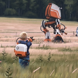 Mesmerising near future artwork featuring landscapes and technology by Swedish artist and illustrator, Simon Stalenhag.
