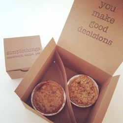 "Simplethings has fun messages inside their pie boxes! The tiny cutie pie boxes say ""life is short. enjoy the simplethings."" and the simple pies box says ""you make good decisions."""
