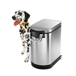 Simplehuman's pet food can will keep food in and pets out. It has an airtight seal and scoop in the lid.