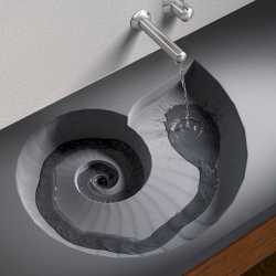 Watch water spiral down the drain with this Ammonite sink from HighTech. Washing your face has never been more mesmerizing.