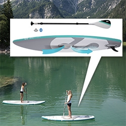 SIPA Boards - Self Inflating Paddle Boards complete with electric motor controlled wirelessly with a remote on the paddle.
