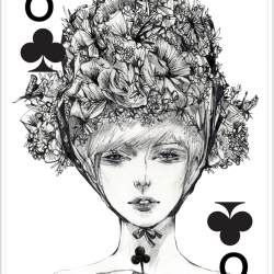 Six of Clover from the 'Fashion Playing Cards Series by Connie Lim.