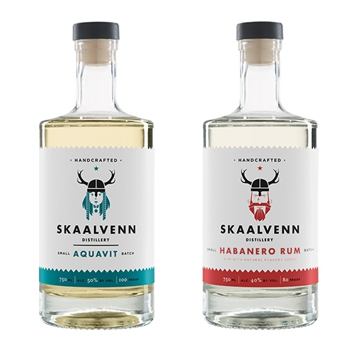 "Skaalvenn Distillery in Brooklyn Park, MN has fantastic Viking inspired branding! Also the bottom of their site says ""Cheers, friends. Pillage responsibly."""