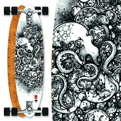 Arbor Zeppelin Bamboo Skateboard has a stunning Octopus illustration by Nanami Cowdroy.