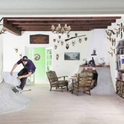A pro skateboarder revamps a decaying hunting lodge into a domesticate skatepark.