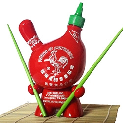 "Sket One's Sketracha Hot Chili Sauce 8"" Dunny - It comes signed/numbered with a pair of bright green bamboo chopsticks and a Bamboo Place Mat."
