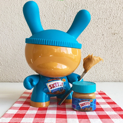 "Sket One's 8"" Sketty Peanut Butter Custom Dunny - complete with a mini bottle of peanut butter inside."