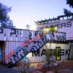 Designed by Melbourne-based Phooey Architects, Skinners Playground puts four discarded shipping containers to use as the primary spaces for childhood adventures.