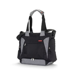Skip Hop's Bento ultimate diaper bag includes an insulated mealtime kit, lots of pockets, padded tote straps, an adjustable messenger strap and Shuttle Clips to attach it to any stroller.