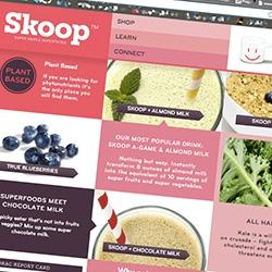 """Skoop ~ fun branding, packaging, website for Skoop's """"Super Simpler Superfoods"""" drink blends"""