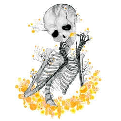 Raquel Aparicio's Woody print ~ love the wood grain of the skeleton...