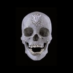 $100 million dollar jewel encrusted human skull. For Love of God at White Cube. Damien Hirst: Beyond Belief.
