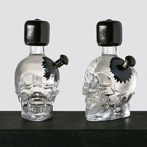 Crystal Skull Vodka bottle remixed into an interactive ferrofluid sculpture.