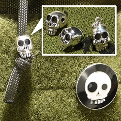 Last TAD Gear/IWG skull post (for now) ~ how fun are these I.W.G. Skull Bead Charms - Custom Made Solid 925 Sterling Silver... the vertical holed one in particular - perfect for every hoodie string!
