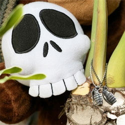 Holiday Feature + GIVEAWAY!!! Rocket World shows off their new jewelry pieces (amazing grenade and skull) as modeled by their first plush, Titus! (A must for the kids wishlist this year!)