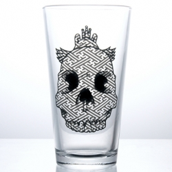 Move over Grimace and Hamburglar drinking glasses…make way for Jeremy Fish's SuperFishal Big Skull pint glasses.