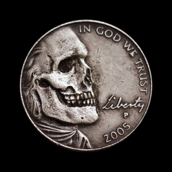 A number of artists etched away the flesh of the subject to reveal these awesomely macabre skulls. Hobo nickel carving remains a popular hobby today and it even has a society.