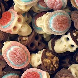 Chocolate Skulls Gone Nuts by Ruth & Sira Garcia. Chocolate skulls with walnut / candy brain.